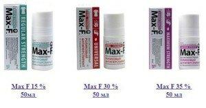 Процентное содержание активных веществ в max f
